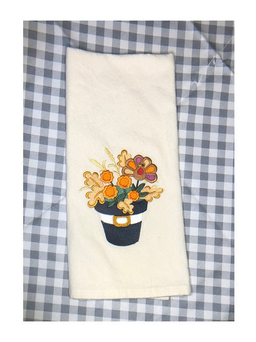 Thanksgiving Flower Pot Kitchen Towel