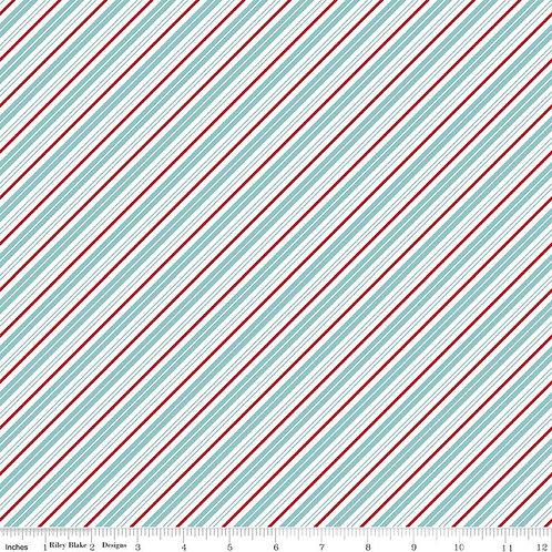 Santa Claus Lane Stripes Bear Lake  Sku C9616-BEARLAKE - Riley Blake Fabrics