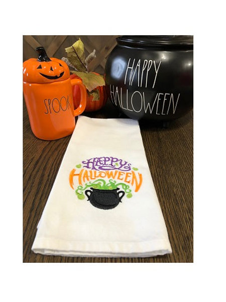 Happy Halloween Embroidered Towel - by Southern Stitchers Co.