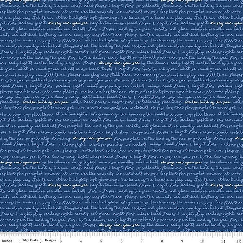 Land of Liberty Text Navy by My Mind's Eye - Sku#C10566Navy -  Riley Blake