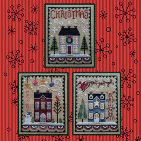 Christmas House Trio - Waxing Moon Designs - Cross Stitch Pattern