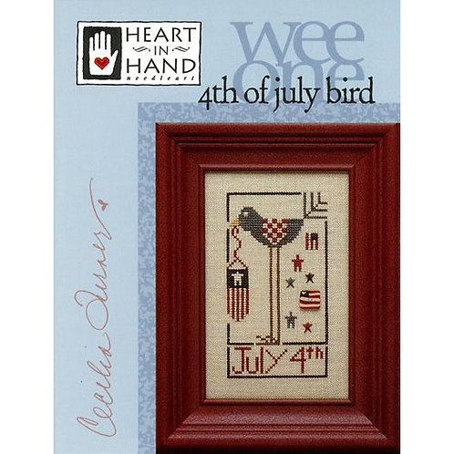 Wee One 4th of July Bird - Heart In Hand - Cross Stitch Pattern
