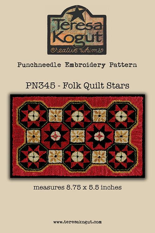 Folk Quilt Stars - Punchneedle Pattern - by Teresa Kogut