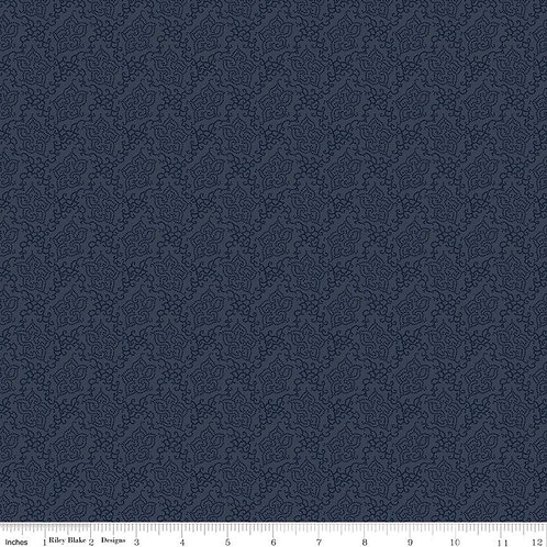 Seeds of Glory Stitches Navy C10364-NAVY by Stacy West for Riley Blake