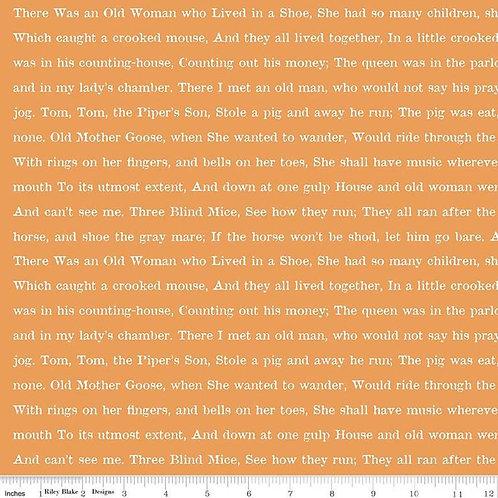 Riley Blake Designs - Goose Tales by J. Wecker Frisch - Text Orang # C9400 - Ril