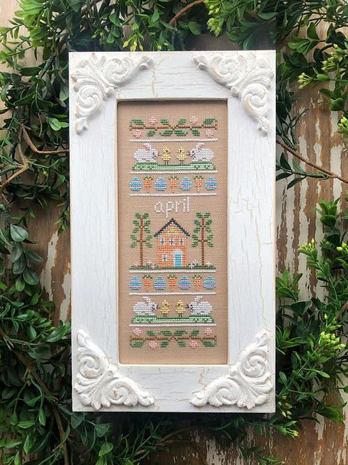 Sampler of the Month April - Country Cottage Needleworks