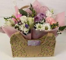 Hessian dotty flower bag £20
