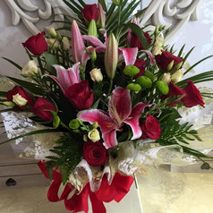 Lily and dozen  rose bouquet  £75