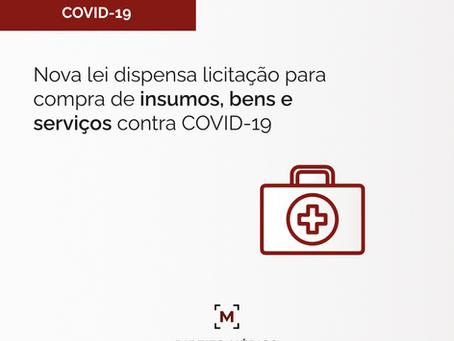 Nova lei dispensa licitação para compra de insumos, bens e serviços contra COVID-19