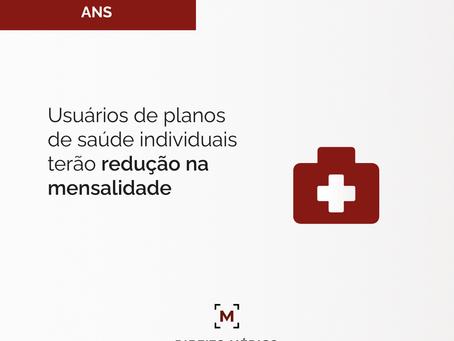 Usuários de planos de saúde individuais terão redução na mensalidade