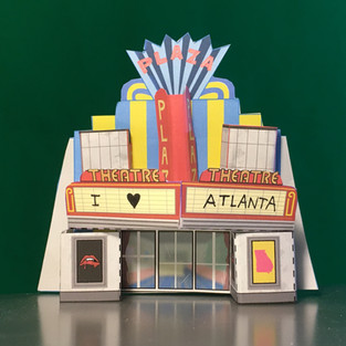 A print-out cut-out model I designed of Atlanta's Plaza Theatre!