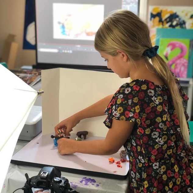 A student works on her short film, during my CLaymation Workshop on September 26th, 2019!
