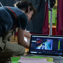 Helping a student animate on-set!