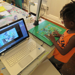 Students at work during the week-long Stop-Motion animation class from July 15th - 19th, 2019.