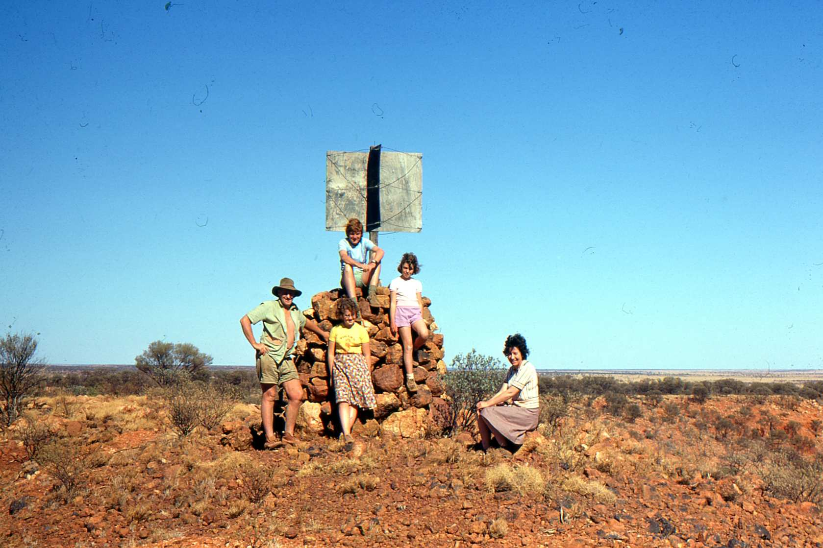 Beadell family at Mt Beadell, 1977