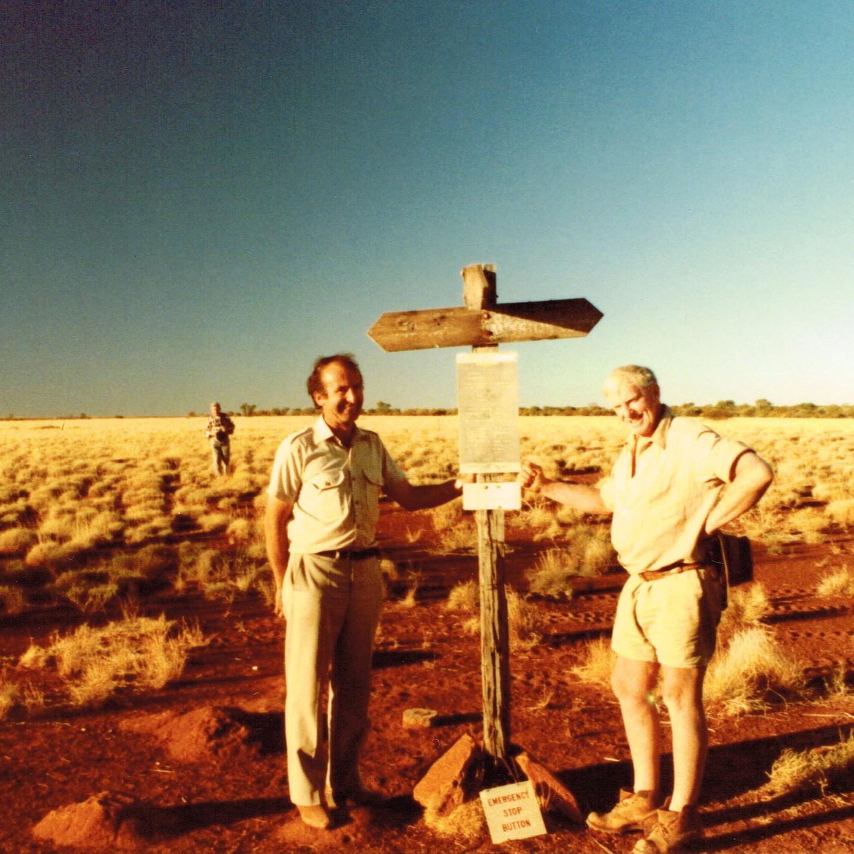Dick Lang & Len Beadell at Jackie Junction 1984