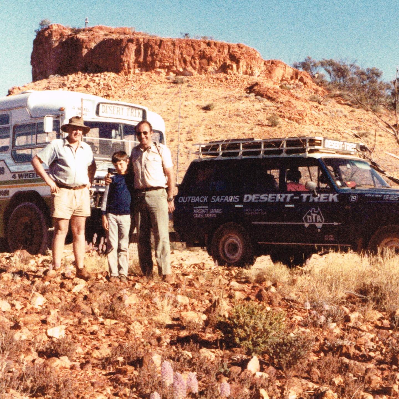 Len Beadell, Lachlan & Dick Lang at Mt Beadell 1985
