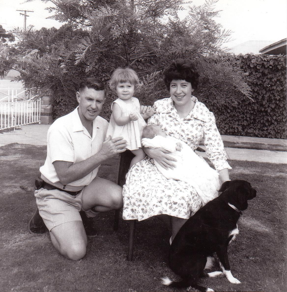 Beadell Family portrait 1963: Len, Connie, Gary, Anne, Bonnie the dog