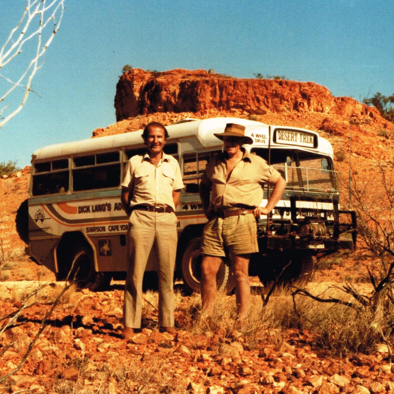 Dick Lang and Len Beadell at Mt Beadell 1984
