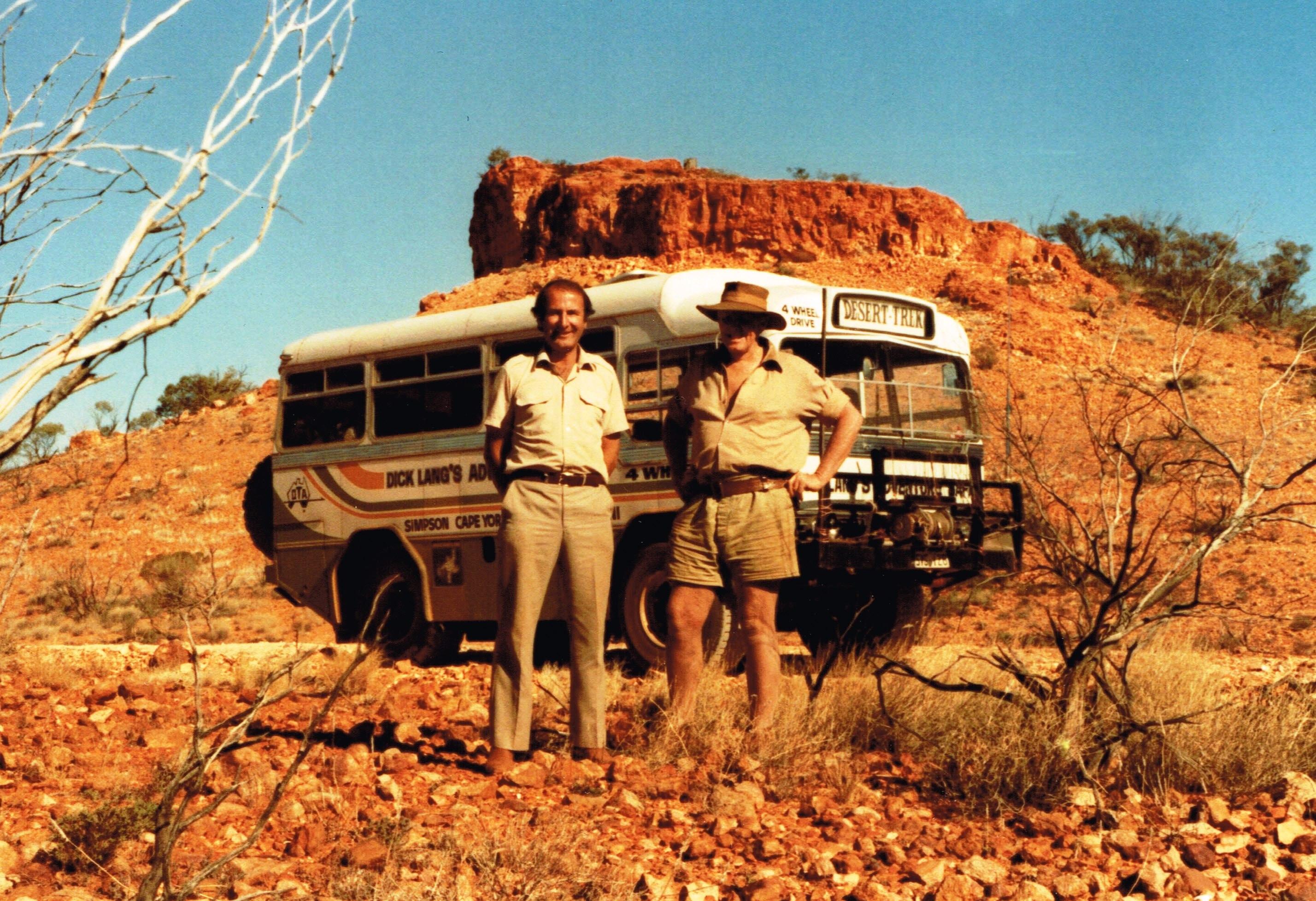 Dick Lang & Len at Mt Beadell 1985