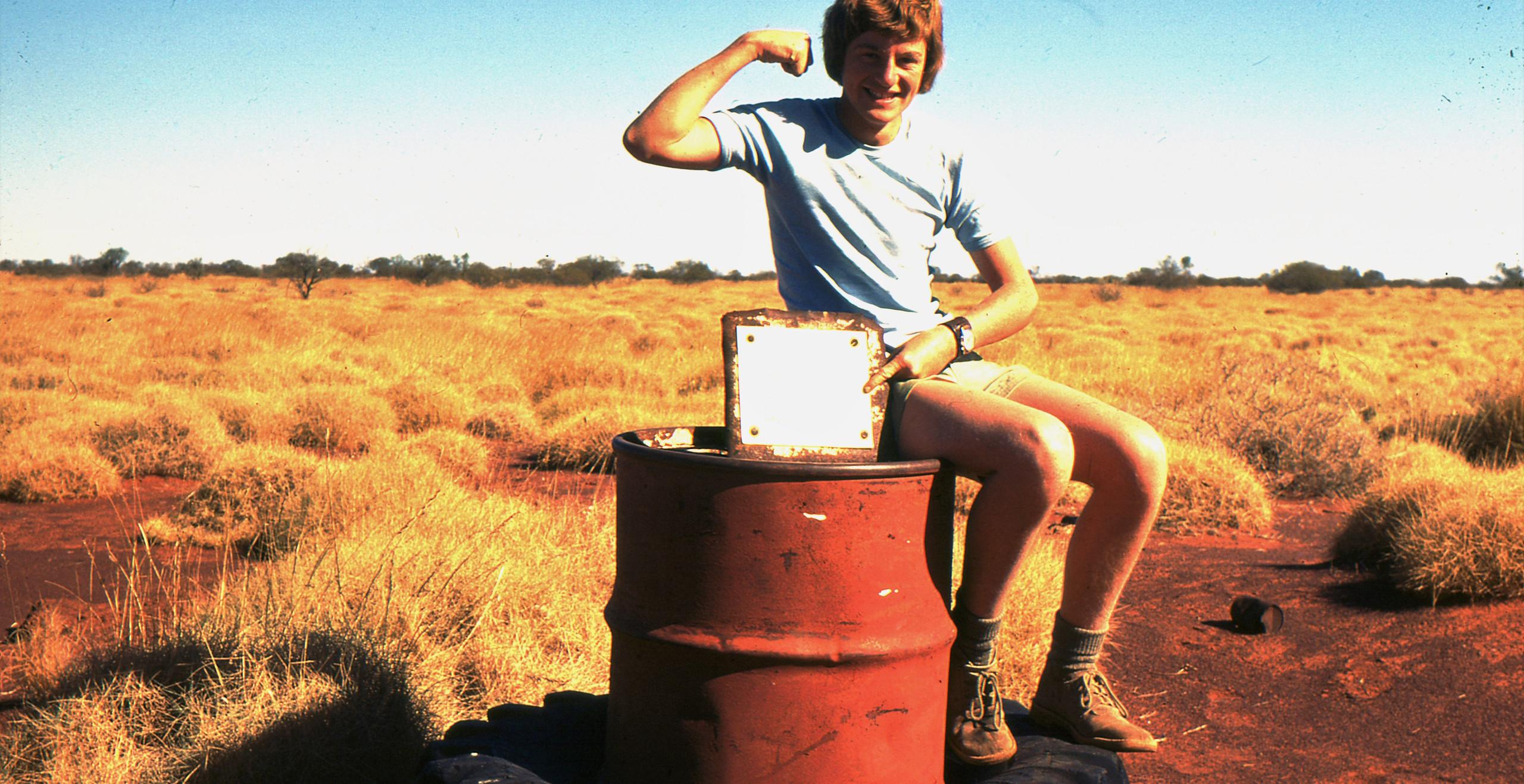 Gary Beadell at Everard Junction in 1977, photo by Len Beadell