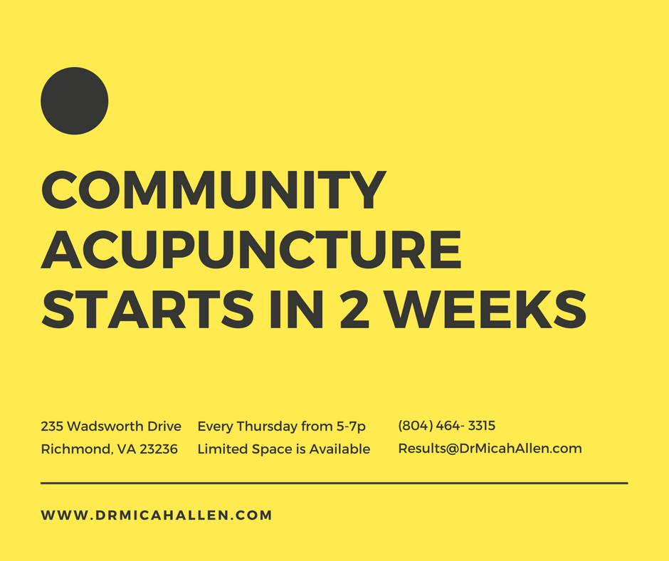 Community Acupuncture Starts in 2 Weeks