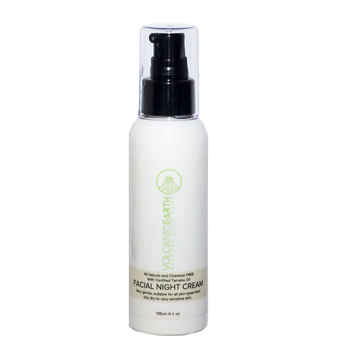 Volcanic Earth Organic Facial Night Cream with Certified Tamanu Oil, 135ml