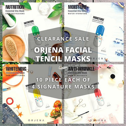 Orjena Korean Tencil Facial Mask, 40pc Bundle (10 piece each model)
