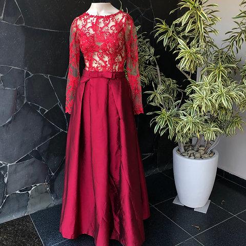 Vestido Longo Alta Costura Vermelho