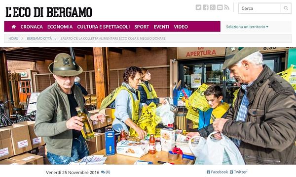 articolo L'Eco di Bergamo Colletta 2016.