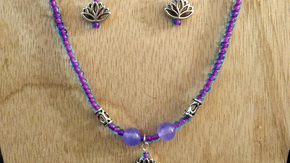 Quartzite stone lotus earrings/necklace set