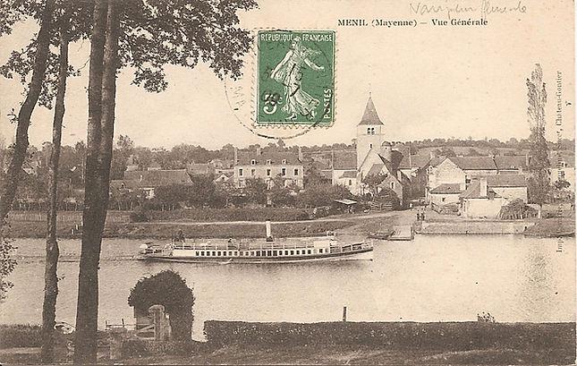 carte postale ancienne montrant le village de Ménil avec l'ancien presbytère maintenant chambres d'hôtes