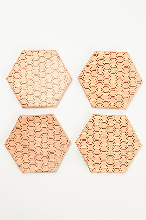 Honeycomb Coaster - Vegetable Tanned Leather