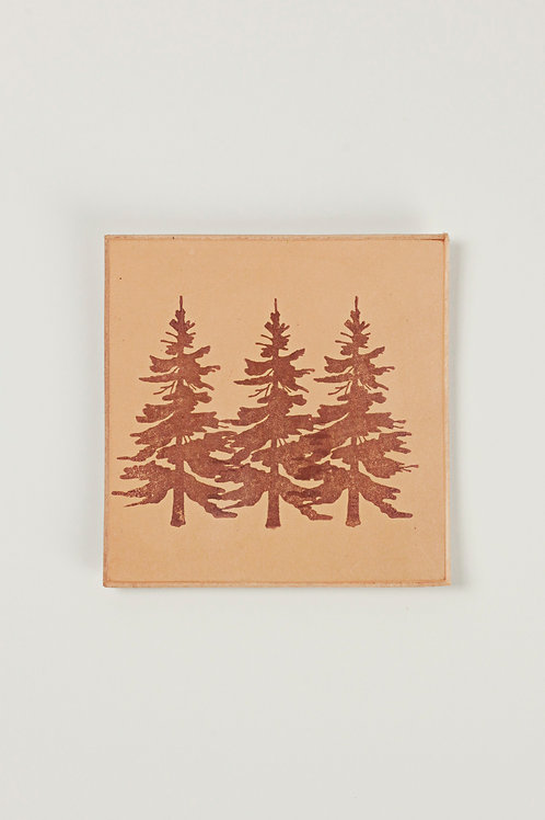 Leather Coaster - Pine Tree / Forest