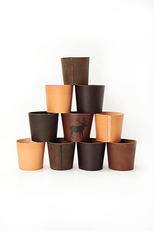 Reusable Leather Coffee Cup / Pint Glass Sleeve