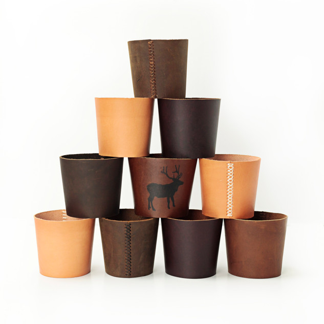 Reusable Leather Coffee Cup Sleeve / Pint Glass Sleeve