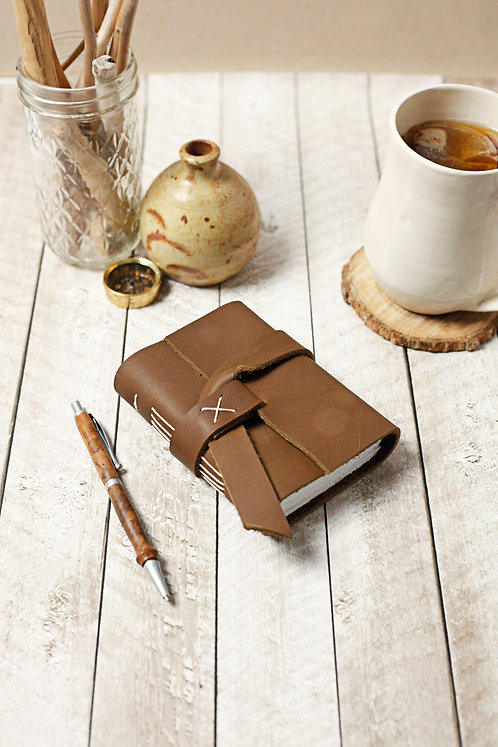 Chocolate Brown Leather Travel Journal