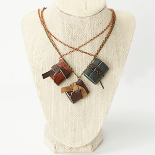 Mini Leather Journal Necklaces