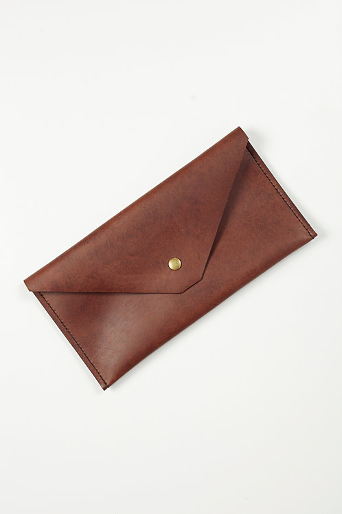 Leather Clutch in Sienna Brown