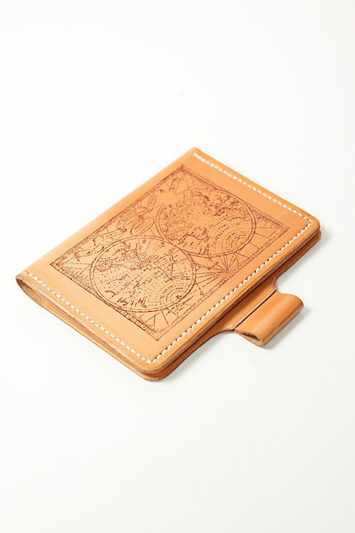 World Map Leather Travel Wallet / Refillable Leather Journal / Field Notes Case