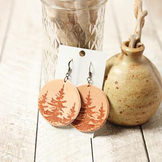 Pine Tree Leather Earrings