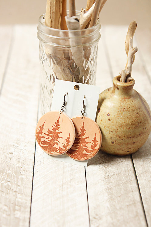 Pine Tree Leather Earrings