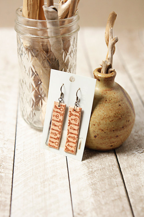 Skeleton Key Leather Earrings