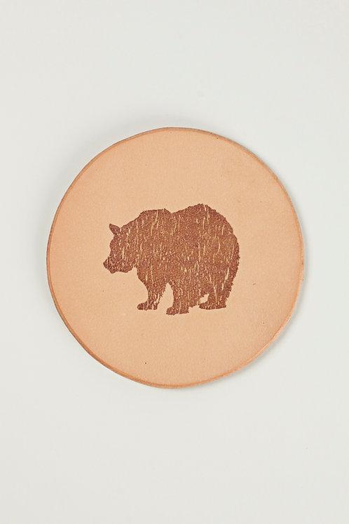 Leather Coaster - Bear