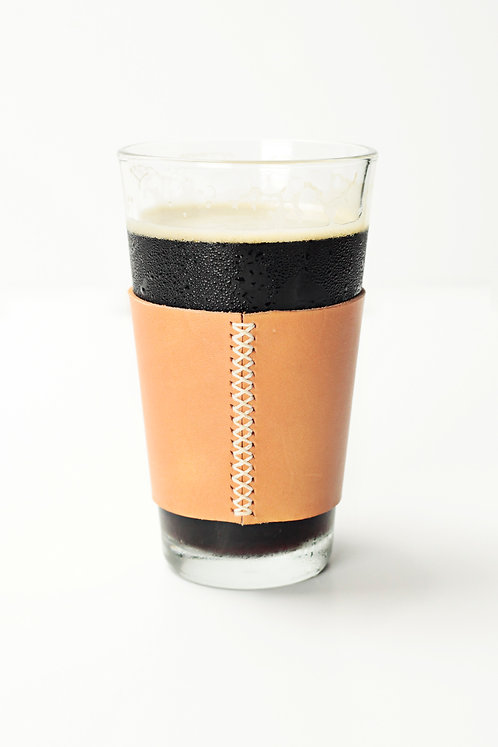 Reusable Pint Glass Sleeve - Vegetable Tanned Leather