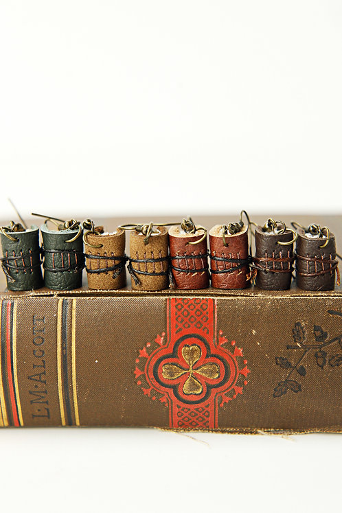 Mini Leather Journal Earrings