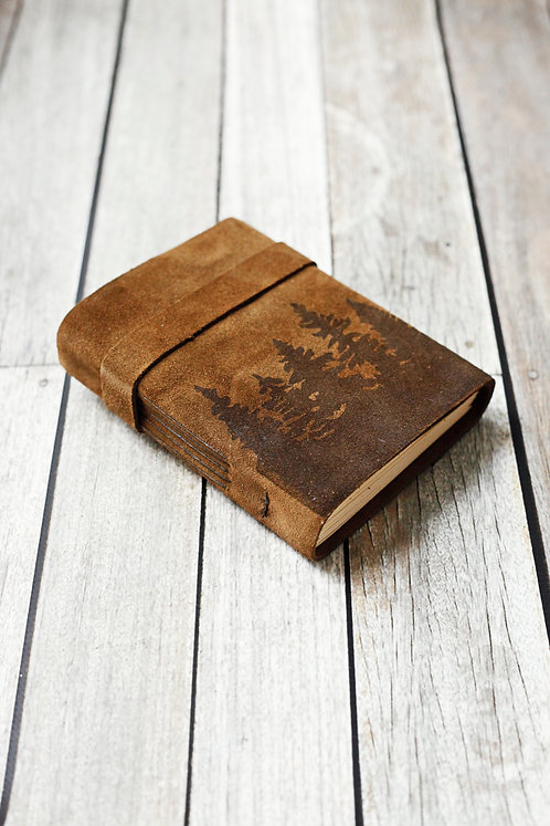 Pine Tree Leather Journal / Suede Travel Book
