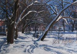 Старый парк. Зима-пастель 30х42 2012 г..jpg