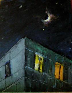 Дом-пирамида и месяц над ним (орг., м., 2012, 35х28,5) 3