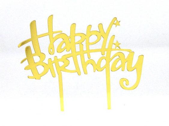 טופר לעוגה יום הולדת שמח זהב